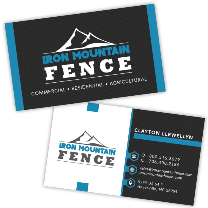Iron Mountain Fence Business Card Design