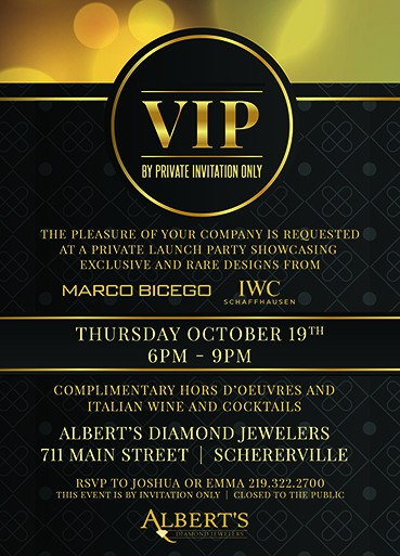 Graphic Design - Flyer Designed for Alberts Diamond Jewelers Invitation VIP Event