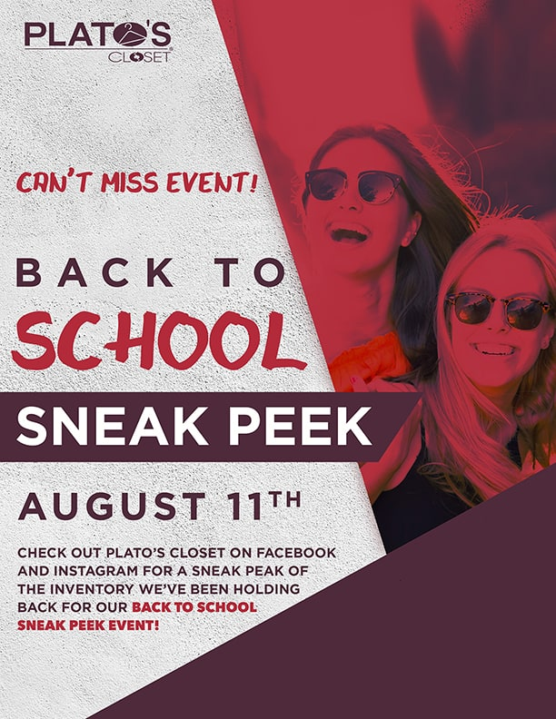 Back to School Sneak Peak Flyer Graphic Design for Platos Closet
